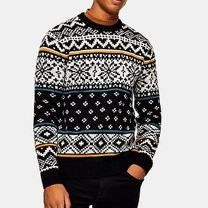 TOPMAN Christmas Alpine Jumper Wool Sweater NWT